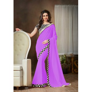 Online Fayda Purple Chiffon Embroidered Saree With Blouse