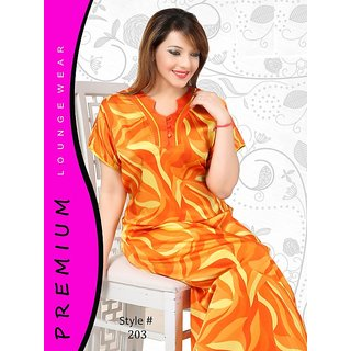 01830ccedc Buy Womens Printed Nighty 1 Night gown Cotton Nightie Lounge wear Orange  203 Slip Online   ₹1290 from ShopClues