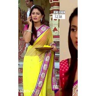 Hina Khan Bollywood Collections-Yellow-AMS5238-VT-Net