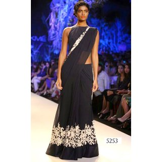 Sudarshan Silks Bollywood Collections-Black-AMS5253-VT-Georgette