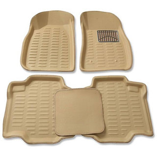 3D beige Car Floor MATS / Foot Mat - TATA INDICA EV2 with PETRL/DIESL sticker