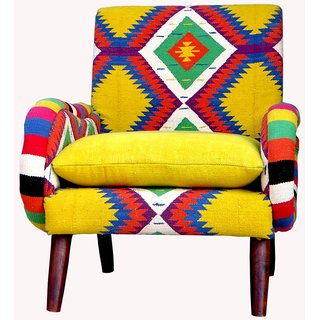 Lora Bird Cotton Rug Arm Chair