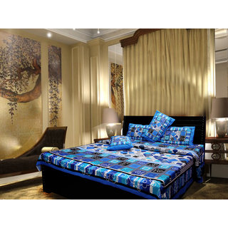 Akash Ganga Cotton Blue Double Bed Sheet (Cplus1)