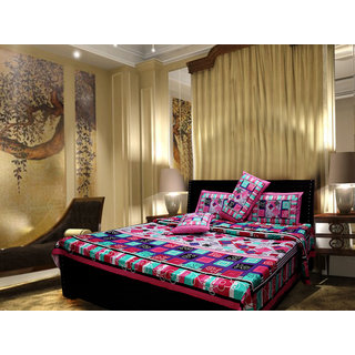 Akash Ganga Cotton Multi-Colour Double Bedsheet with 2 Pillow Covers (Cplus3)