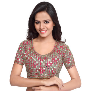 Surat Tex Red Color Raw Silk Embroidered Readymade blouse patterns