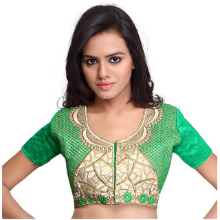 Surat Tex Green Color Raw Silk Embroidered Readymade latest blouse designs