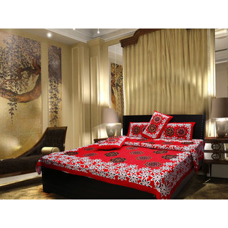 Akash Ganga Cotton Red Double Bedsheet with 2 Pillow Covers (Cplus10)