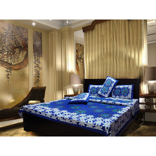 Akash Ganga Cotton Blue Double Bedsheet with 2 Pillow Covers (Cplus6)