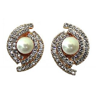 Buy Gorgeous White Colour Stud Earrings For Non Pierced Ears 846 2