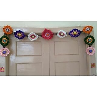 Unique woolen floral Toran wall hanging