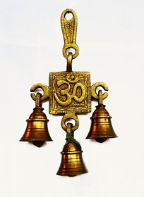 1503267-Aum Wall hanging bell Brass 17cm