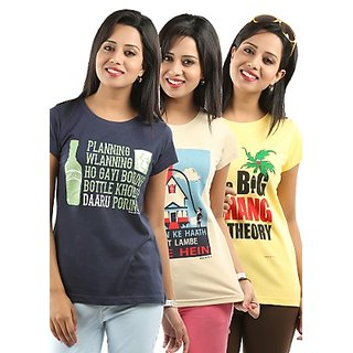Fashion Multicolor Printed Round Neck Basic Top For Women(Set of 3)