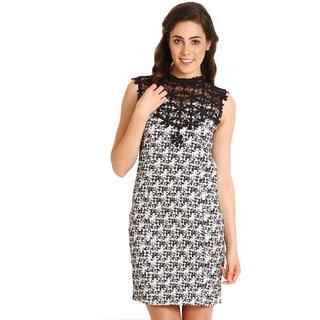 Soie Black  White A-line Printed Sleeveless Womens Dress