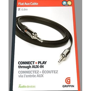 Griffin AUX CABLE GC17103 Auxiliary Audio Flat Cable 3 feet (Black/Gold)