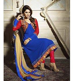 Varanga Blue georgette anarkali semi stitched dress material KFARN2103