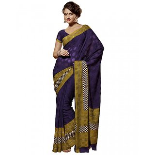 Prafful Purple Viscoss saree with unstitched blouse