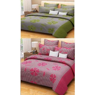 Kingsway Gorgeous set Of  2 Bedsheets With 4 Pillow Covers (f-pink f-green)