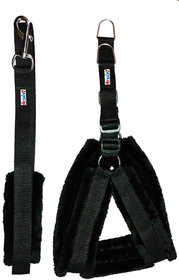 Petshop7 Black Nylon Harness  Leash with Fur 0.75 Inch Small