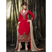 Thankar Red And Cream Embroidered Velvet Straight Suit