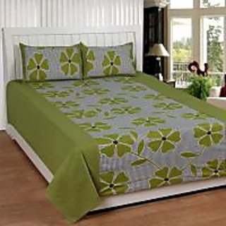 Akash Ganga Green Cotton Double Bedsheet with 2 Pillow Covers (KM595)