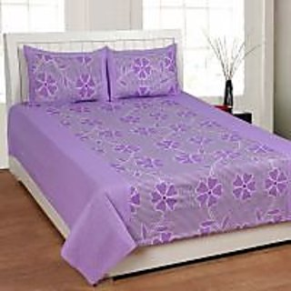 Akash Ganga Purple Cotton Double Bedsheet with 2 Pillow Covers (KM605)