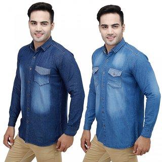 Stylox Men's Blue Slim Fit Casual Shirt (Set of 2)