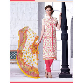 Thankar White And Peach Chanderi Embroidery Straight Suit (Unstitched)