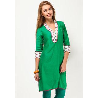 Lamora 3/4Th Sleeve Solid Green Kurti