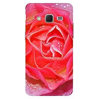 Samsung Galaxy J7 Design Back Cover Case (Rose Bud Dew Drops Macro Petals )