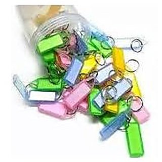 50pcs ASSORTED DOUBLE SIDED KEY CHAIN LABEL LOCKING MULTI COLOR