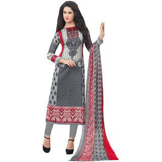 Grey Printed Casual Cotton Salwar Kameez