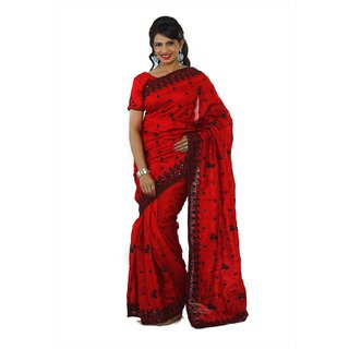 Bollywood Design Maroon Bhagalpuri Silk Saree With Unstitched Blouse