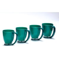 Cutting EDGE Floating Cups blue with inbuilt coaster set of 4 Dark Green