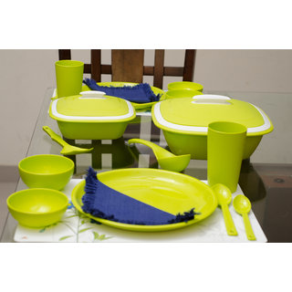 Cutting EDGE Solitaire Microwaveable Dinner Set For 4 28pcs Light Green