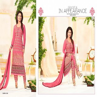 BanoRani Pink Color Faux GeorgetteFull Sleeves Embroidered UnStitched Dress Material (Pant Style)
