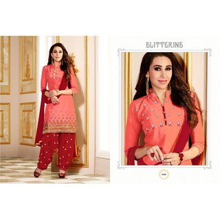 BanoRani Peach  Red Color Cotton Embroidered UnStitched Dress Material