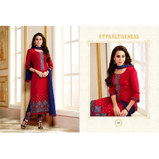 BanoRani Red  Blue Color Cotton Embroidered UnStitched Dress Material (Plazzo)
