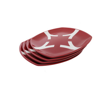Cutting EDGE Microwaveable Dual Colour Dinner Plates set of 4 Red-White