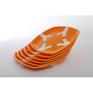 Cutting EDGE Microwaveable Dual Colour Dinner Plates set of 6 Orange-White