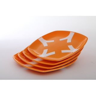 Cutting EDGE Microwaveable Dual Colour Snack Plates set of 4 Orange-White