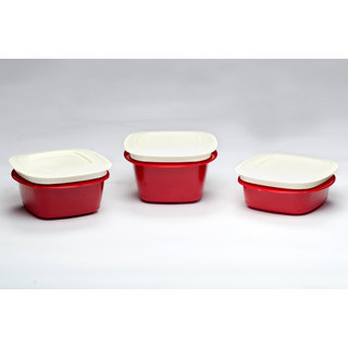 Veggie Fresh Refrigerator Storage Containers combo set of 3 Red (335,500,600 ml)