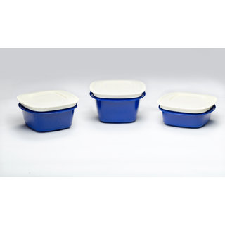 Veggie Fresh Refrigerator Storage Containers combo set of 3 blue (335,500,600 ml)