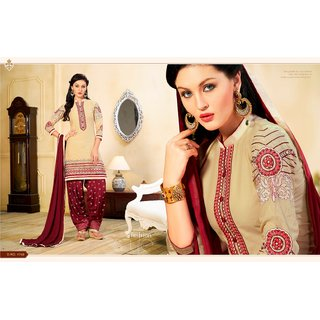 BanoRani Beige  Maroon Color Embroidered  Patiyala UnStitched Dress Material