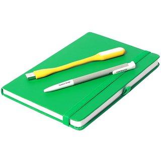 Modabook Premium Leatherite A5 Green Hard Bound Notebook With 1Usb Light 1Pen