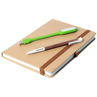 Modabook Premium Leatherite A5 Light Brown Hard Notbook With 1Usb Light 1Pen