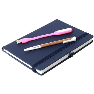Modabook Premium Leatherite A5 Black Hard Bound Notebook With 1Usb Light 1Pen