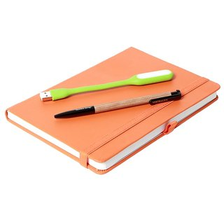 Modabook Premium Leatherite A5 Orange Hard Bound Notebook With 1Usb Light 1Pen
