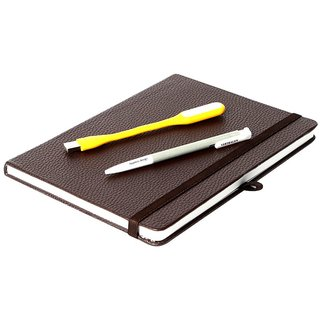 Modabook Premium Leatherite Brown Hrad Bound Notebook With 1Usb Light 1Pen
