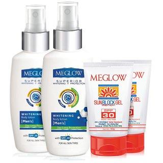 MEGLOW BODY CARE KIT FOR MEN (UTILITY)- SUNBLOCK GEL + WHITENING BODY LOTION