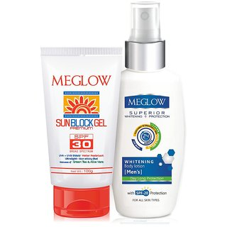 MEGLOW BODY CARE KIT FOR MEN (VALUE)- SUNBLOCK GEL + WHITENING BODY LOTION